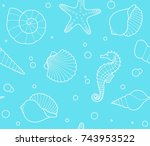 seamless pattern with shells ... | Shutterstock .eps vector #743953522