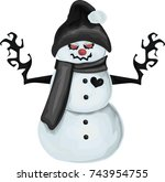 evil  snowman with red eyes and ... | Shutterstock .eps vector #743954755