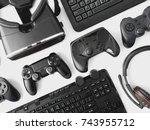 gamer workspace concept  top...   Shutterstock . vector #743955712