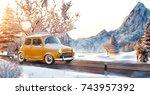 cute little retro car  goes by... | Shutterstock . vector #743957392