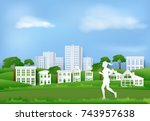 woman jogging in the park of...   Shutterstock .eps vector #743957638
