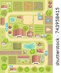 vector illustration. green farm....   Shutterstock .eps vector #743958415