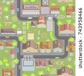 seamless pattern cityscape. ... | Shutterstock .eps vector #743958466