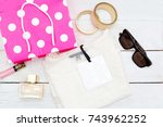 new t shirt and pink shopping... | Shutterstock . vector #743962252