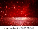red glitter vintage lights... | Shutterstock . vector #743963842
