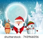 smiling snowman  high detailed... | Shutterstock .eps vector #743966056