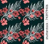 boho pattern. watercolor...   Shutterstock . vector #743979406