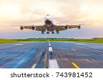 passenger airplane landing at... | Shutterstock . vector #743981452