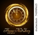 happy new year  background with ... | Shutterstock .eps vector #743989615