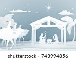 christmas christian nativity... | Shutterstock .eps vector #743994856
