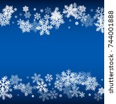 winter card border of snow... | Shutterstock .eps vector #744001888