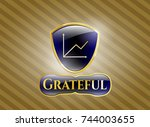gold shiny emblem with chart... | Shutterstock .eps vector #744003655