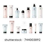 realistic cosmetic bottles with ... | Shutterstock .eps vector #744003892