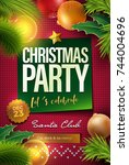 merry christmas party poster... | Shutterstock .eps vector #744004696