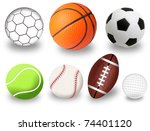 set of sport balls on white... | Shutterstock .eps vector #74401120