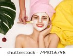 cosmetic mask  cosmetology ... | Shutterstock . vector #744016798