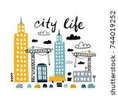 cartoon city print. childish... | Shutterstock .eps vector #744019252