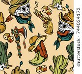 wild west seamless pattern  old ... | Shutterstock .eps vector #744024172