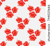 seamless pattern of hibiscus or ...   Shutterstock .eps vector #744025666