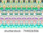 colorful horizontal pattern for ... | Shutterstock . vector #744026506