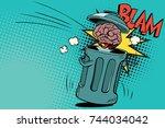 human brain is thrown in the... | Shutterstock . vector #744034042