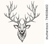 head of deer  hand drawn... | Shutterstock .eps vector #744038602