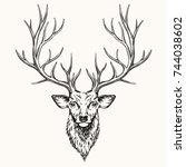 head of deer  hand drawn... | Shutterstock .eps vector #744038602