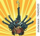 hand with revolvers shot pop... | Shutterstock . vector #744042535