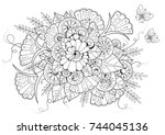 hand drawn backdrop. coloring... | Shutterstock .eps vector #744045136