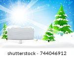 blank wooden frame with copy... | Shutterstock .eps vector #744046912
