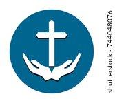 christian religion icon vector | Shutterstock .eps vector #744048076