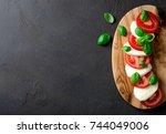 traditional italian food ... | Shutterstock . vector #744049006