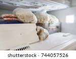 frozen products inside the... | Shutterstock . vector #744057526