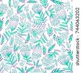 seamless pattern with rowan... | Shutterstock .eps vector #744063202