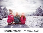 ski  winter  snow and fun  ... | Shutterstock . vector #744063562