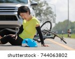 accident car crash with bicycle ... | Shutterstock . vector #744063802