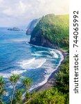 coastline of the hawaiian... | Shutterstock . vector #744065992