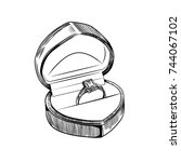 vector drawing rings in a case. ... | Shutterstock .eps vector #744067102