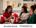 cheerful african family for... | Shutterstock . vector #744068512