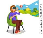 virtual reality helmet  glasses ... | Shutterstock .eps vector #744072712