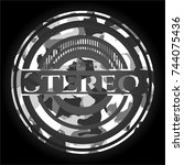stereo on grey camo texture   Shutterstock .eps vector #744075436