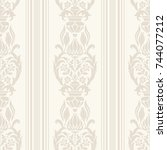seamless damask wallpaper  with ... | Shutterstock .eps vector #744077212