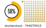 set of circle percentage... | Shutterstock .eps vector #744079015