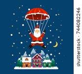 vector santa claus. santa... | Shutterstock .eps vector #744082246