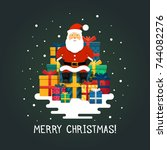 vector santa claus. santa... | Shutterstock .eps vector #744082276