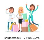 shopping women characters... | Shutterstock .eps vector #744082696