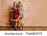 full length portrait of happy... | Shutterstock . vector #744085975