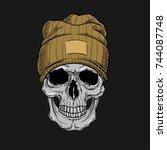 hipster skull dressed in cap | Shutterstock .eps vector #744087748
