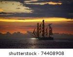Ocean Sunset And Sail Ship At...