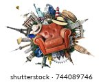 leather chair on the background ... | Shutterstock . vector #744089746